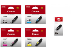 Canon PGI-680BK & CLI-681 Ink Cartridge 5 Pack Essentials Combo Genuine