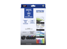 Epson 302 and 302XL 5 Ink Cartridge Value Pack Combo Genuine