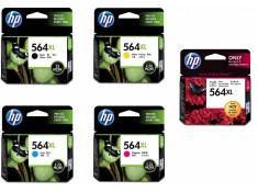 HP 564XL Black & Colour High Yield Ink Cartridge 5 Pack Combo Genuine