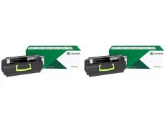 Lexmark 58D6000 Black Toner Cartridges Twin Pack Genuine