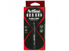 Artline 200 Series 0.4mm Fineliner Black Pens