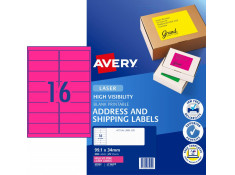 Avery L7162FP Hi-Vis Fluoro Pink 25 Sheets 16 Per Page