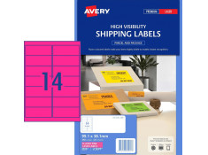 Avery L7163FP Hi-Vis Fluoro Pink 25 Sheets 14 Per Page