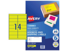 Avery L7163FY Hi-Vis Fluoro Yellow 25 Sheets 14 Per Page