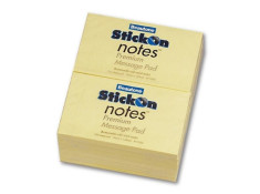 Beautone StickOn 76 x 125mm Yellow Notes
