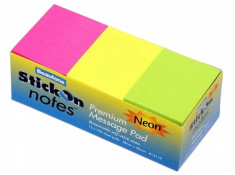 Beautone Stick On Notes 38mm x 50mm Neon Assorted