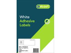 Celcast 64 x 33.8mm White Laser & Inkjet 24UP
