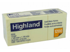 Highland 6539 Stick On Notes  38mm x 50mm 12Pk