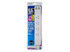 Jackson 1m White 4 Outlet Surge Protected + 4 USB Ports