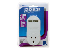 Jackson 2 Outlet USB Charger with Mains