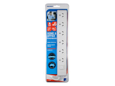 Jackson 90cm White 6 Outlet Surge Protected with Master Switch