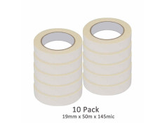 SCI 10 Pack White/Beige 19mm x 50m x 145 Mic