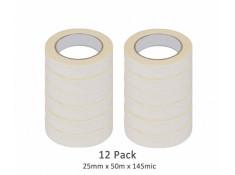 SCI 12 Pack White/Beige 25mm x 50m x 145 Mic
