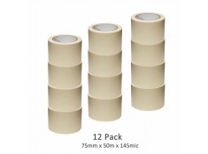 SCI 12 Pack White/Beige 75mm x 50m x 145 Mic