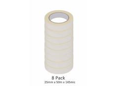 SCI 8 Pack White/Beige 25mm x 50m x 145 Mic