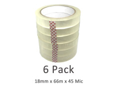 SCI Bulk Buy 6 Pack Clear 18mm x 66m