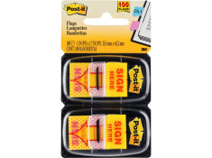 Post-It 3M 680-SH2 Sign Here 25.4 x 43.2mm Flag Twin Pack