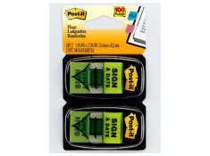 Post-It 3M 680-SD2 Sign and Date 25.4 x 43.2mm Flag Twin Pack