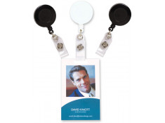 Rexel ID Card Holder Retract W/Strap & Nylon Cord White