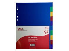 Stat A4 Manilla 10 Tab Multi-Coloured