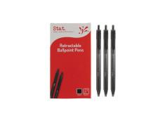 Stat Retractable Ballpoint Medium Black Pens