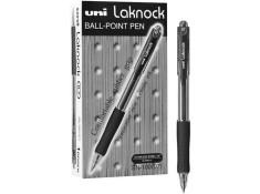 UNI Laknock Retractable Fine Black Pens