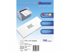 Unistat Printable Labels 100 Sheets 33 Per Page